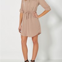 Taupe Zip Yoke Shirt Dress