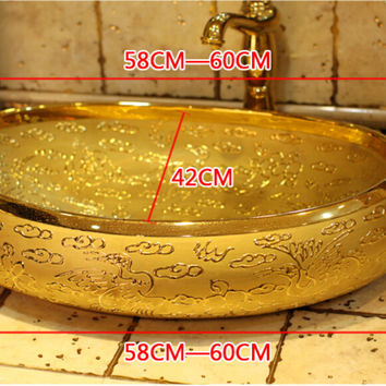 Oval Bathroom Lavabo Ceramic Counter Top Wash Basin Cloakroom Hand Painted Vessel Sink Bowl 5002