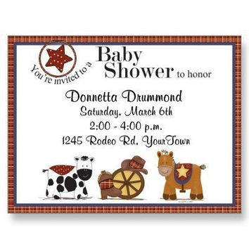Cowboy/Cowgirl Baby Shower Invitation Postcard from Zazzle.com