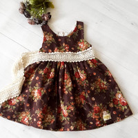 Fall wedding flower girl dress, rustic style dress, Linen and lace dress, floral dress shabby chic girl's dress
