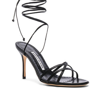 Manolo Blahnik Leather Leval 90 Sandals in Black Nappa | FWRD