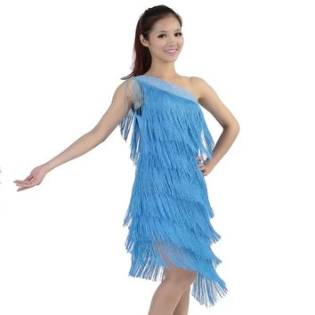 Women Unequal Fringe Dress Sexy One Shoulder Sloping Shoulder Rhinestone Latin Tango Ballroom Salsa Girls Dance Dress Costume