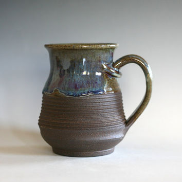 Coffee Mug Pottery, 16 oz, unique coffee mug, ceramic cup, handthrown mug, stoneware mug, wheel thrown pottery mug, ceramics and pottery