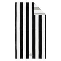Reversible Awning stripe Beach Towel- Black/Gray