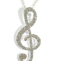 Treble Clef Note Necklace Silver Tone Crystal Music NF13 Singer Choir Vintage Pendant Fashion Jewelry
