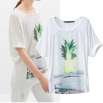Cute Pineapple Pattern Summer Fashion Style Lovely Women Gift