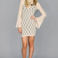The Battalion Elena Lace Bell Sleeve Mini Dress in Nude