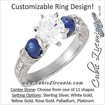 Cubic Zirconia Engagement Ring- The ________ Naming Rights 69-825 (Customizable Vintage with Engraved Band and Blue Sapphire Accents)