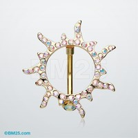 Golden Sun Eclipse Reverse Belly Button Ring