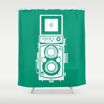 Emerald Shower Curtain by Yashica Lovers