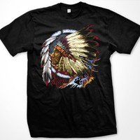 Indian Chief Mens American Indian T-shirt, Native American With Feather Headdress Tee Shirt