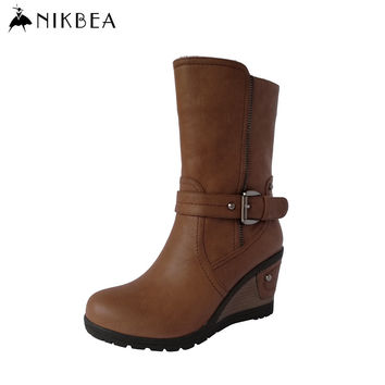 Nikbea Vintage Wedge Boots 2016 Winter Boots Autumn Shoes Women Booties Shoes Fashion Handmade Mid Calf Ladies Pu Leather Boots