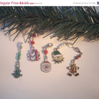 Cyber Monday Sale Christmas Keychain, Clip On Charm. Enamel Tree, Santa Claus, Ginger Bread Man, Elf, Gift, Zipper Pull, Purse Charm, Choose