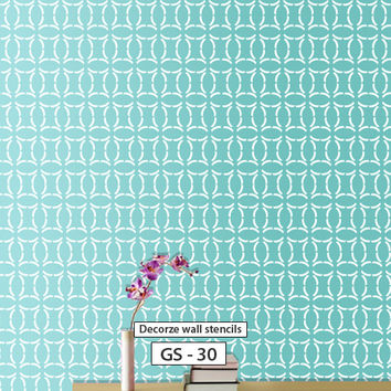 Geometric wall painting stencil design for wall, GS-30