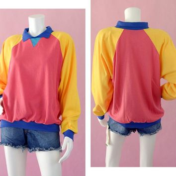 80s Colorblock Long Sleeve Collared Shirt Deadstock