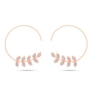0.45ct 14k Rose Gold Diamond Leaf Hoop Earring