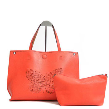 Butterfly Laser Cut Reversible Tote Bag POPPY RED