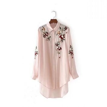 Women Oversize Embroidery Perspective Roll up Sleeve Long Blouse Shirt Turn-down Collar Soft Ladies Top Blusa Feminina Pink