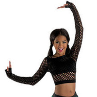 Long Sleeve Fishnet Cropped Dance Top; Balera