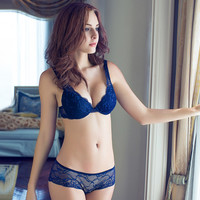 2015 NEWEST Women A/B/C/D Cup Push Up Bra Set Sexy V -Neck Plunge Lace Bra + Briefs , lace bra sexy lingerie bra Free Shipping