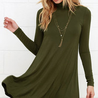 Sway, Girl, Sway! Olive Green Swing Dress