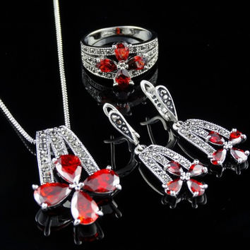 1Set =3pcs Antique Silver Plated New Assort Ruby Fashion Necklace Earring Set Bridal Jewelry Sets
