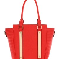 Red Lynn Metal Plate Tote | $24.50 | Cheap Trendy Totes Chic Discount Fashion for Women | ModDeals.