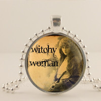 """Witchy woman, Halloween, 1"""" glass and metal Pendant necklace Jewelry."""