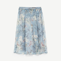 STRIPED AND FLORAL PRINT ORGANZA SKIRT DETAILS