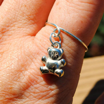 Adjustable Wire Wrapped Ring Charmed Floating by KissMeKrafty