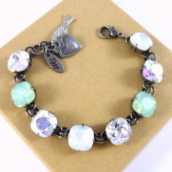 TRANQUILITY BAY, 12mm Swarovski crystal cushion cut bracelet, mint opal, white opal, AB, fish charm, Siggy bling