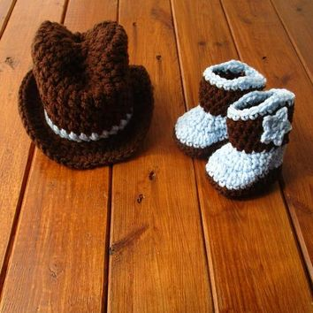 Crochet Baby Cowboy Hat And Boots Set Newborn Photo Prop