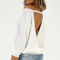 I Turn To You Knit Top In Cream Produced By SHOWPO
