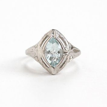 Antique 18k White Gold Aquamarine Ring - Art Deco 1920s Size 5 Icy Aqua Blue Marquise Cut Gemstone Filigree Fine Jewelry, March Birthstone