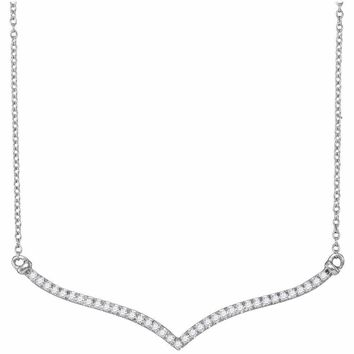 10kt White Gold Women's Round Diamond Contoured Bar Pendant Necklace 1-4 Cttw - FREE Shipping (US/CAN)