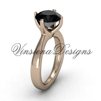 14kt rose gold engagement ring ,wedding ring, Black Diamond VD10020
