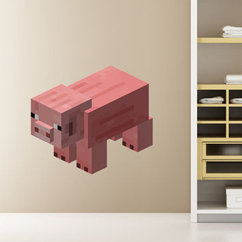 Minecraft Pig HUGE Peel and Stick REUSEABLE Wall Sticker Wall Decal Wall Mural Wall Art
