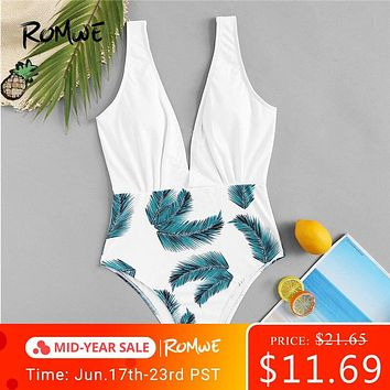 Romwe Sport Tropical Leaf Print V Plunge Neck Ruched One Piece Swimsuit Women Summer Wire Free Beach Monokinis Swimwear