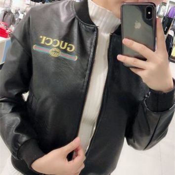 DCCKJ1A GUCCI autumn new wild PU leather coat jacket short jacket