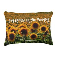 Sunflower Field with Joy Bible Verse Accent Pillow