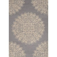 Contemporary Medallion Pattern Gray Polyester Area Rug (2x3)