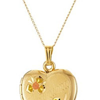 """14k Yellow Gold-Filled Tricolor """"Grandma"""" Heart Locket Pendant Necklace, 18"""""""