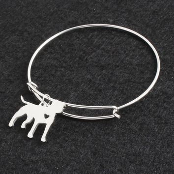 Stainless Steel Silver Pit Bull Openning Bracelet Bangle Femme Pulseras Mujer Pet/Dog DIY Bangles for Women/Men Jewelry