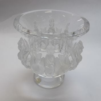 Signed Lalique Dampierre glass vase