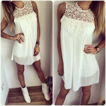 Stylish Lace Stitch Chiffon Summer Mini Dress