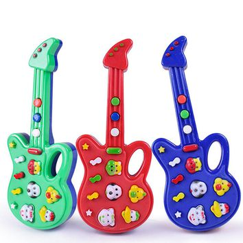 Super Hot Sale Children Baby Kids Guitar Toys Nursery Rhyme Wisdom Development Simulation Music Plastic Guitar Best Gift