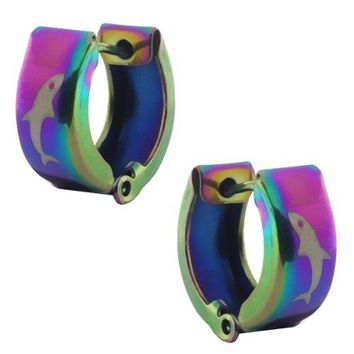 Stainless Steel Rainbow Fish Huggie Hoop Earrings 13mm Length 5mm Width