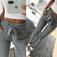 2018 New fashion Vintage gray grid casual pants women pants trousers female spring streetwear capris summer pants