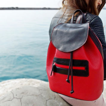Red Leather Backpack, Large Backpack, Women Leather Backpack, Red and black, Red Leather Bag