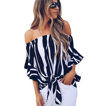 Off The Shoulder Vertical Black White Stripes Blouse